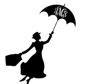Free Mary Poppins Umbrella Silhouette, Download Free Clip.