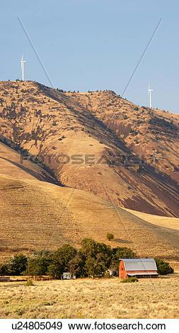 Stock Photograph of barn aermotors maryhill washington wa wind.