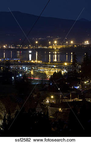 Stock Photo of Night view of Mary Hill Industrial Estate and Pitt.