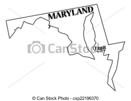 Vectors Illustration of Maryland State and Date.