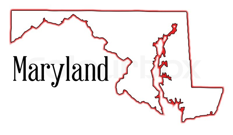 Outline map of the state of Maryland.