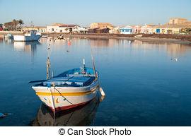 Stock Photography of small harbor of the sea village Marzamemi.