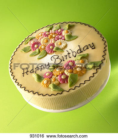 Stock Images of Cake with marzipan flowers and the words 'Happy.