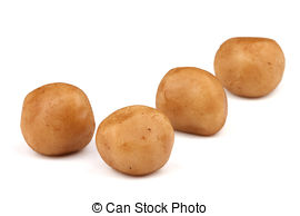 Pictures of Marzipan Potatoes (German cuisine) isolated on white.