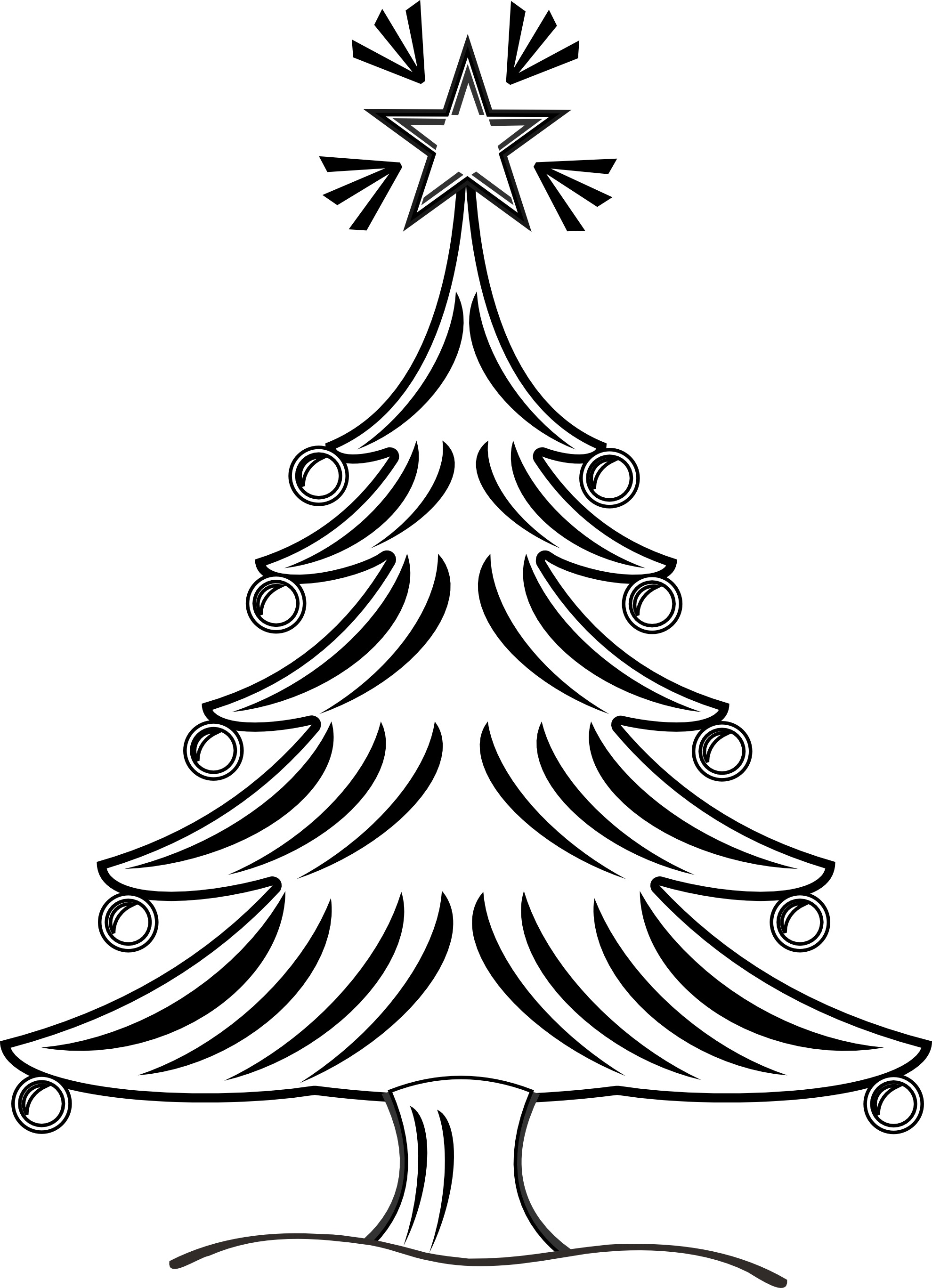 Black And White Xmas Tree Clipart.