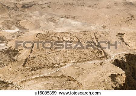 Stock Photograph of Remnants of legionary camp at Masada u16085359.