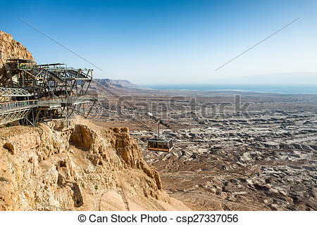Stock Images of Cable car to Masada, ancient fortification , The.