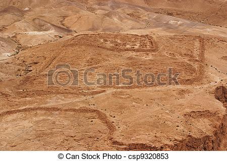 Stock Photos of Excavations of ancient Roman camp near Masada.