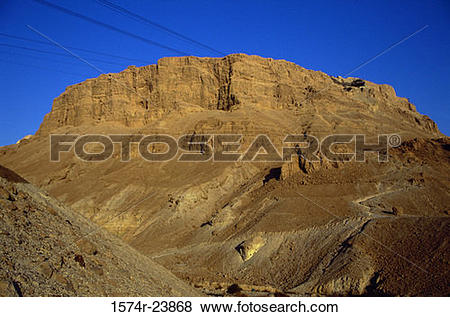 Pictures of Low angle view of a mountain, Masada, Israel 1574r.