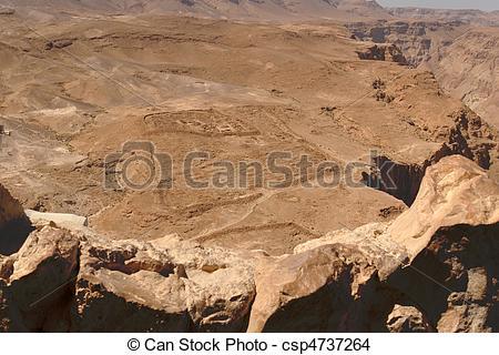 Stock Photo of Excavations of ancient Roman camp near Masada.