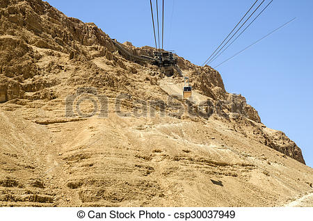 Stock Photo of Cable car from Masada fortress in Israel.