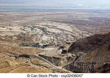 Stock Photo of View of Judaean Desert and Dead See from Masada.