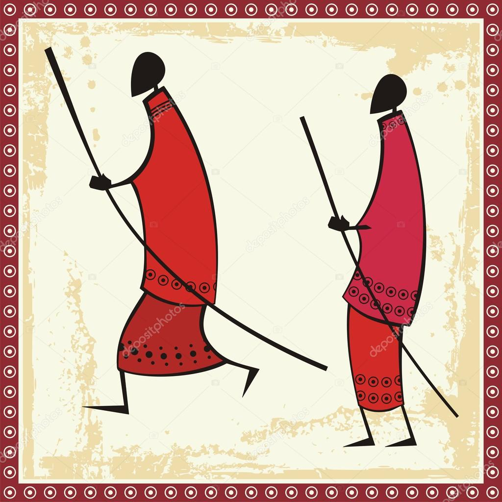Vector African Masai Warriors Illustrations — Stock Vector.