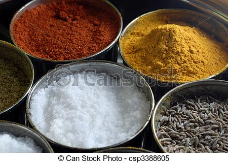 Stock Images of Masala Assorted Condiments and Spices Box.