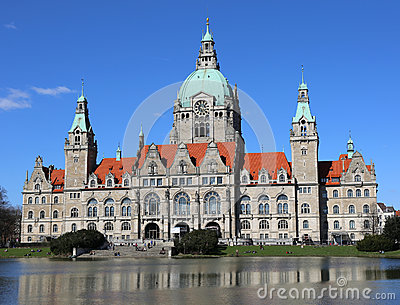 Hannover Neues Rathaus (New Town Hall) By Night Stock Images.