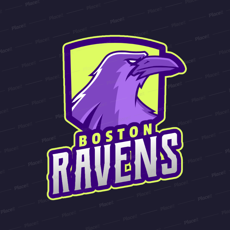 Sports Logo Maker for a Team with a Raven Mascot 2693b.