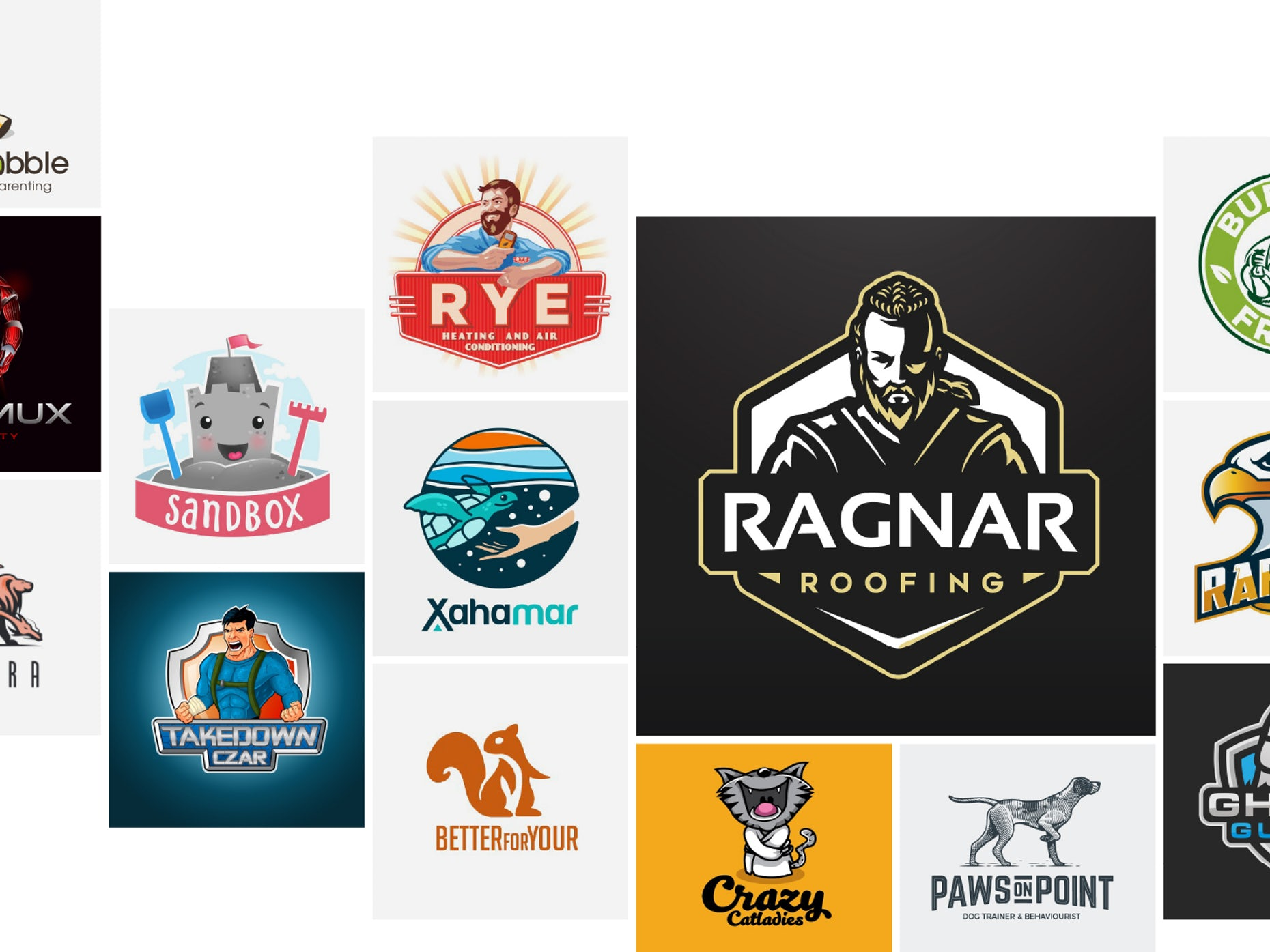 36 mascot logos with their game face on.