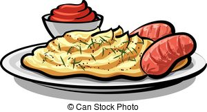 Sausage and mash clipart.