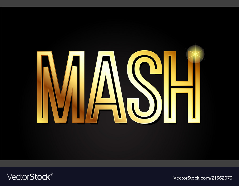 Mash word text typography gold golden design logo.