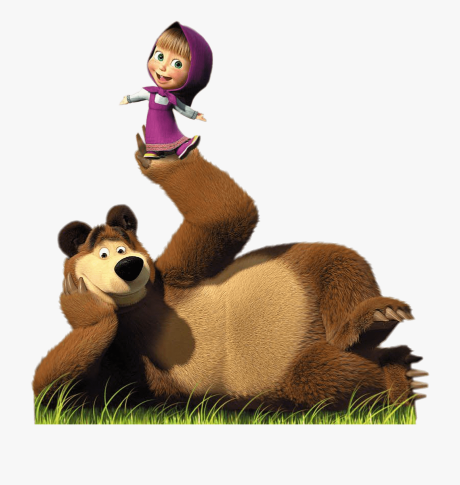 Masha Doing Balancing Act On Bear\'s Paw Transparent.