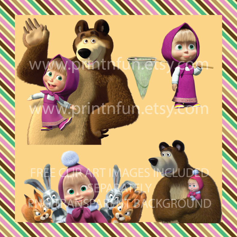 Masha and the Bear Digital Paper Patterns and FREE Clip art.