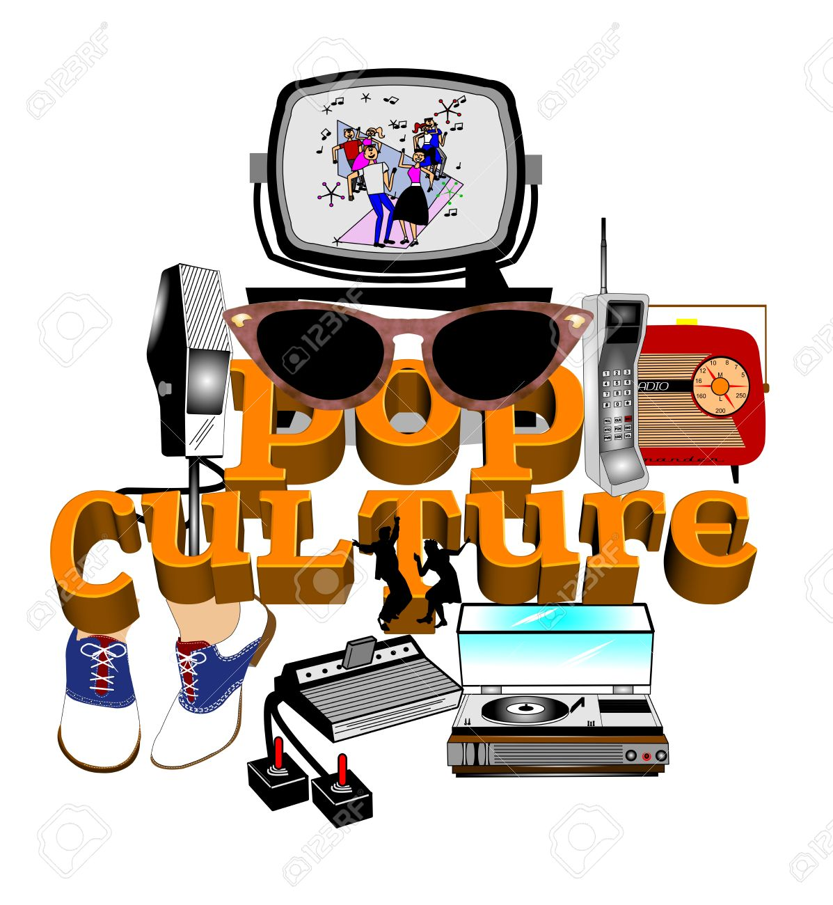 Pop Culture Mashup Background Royalty Free Cliparts, Vectors, And.