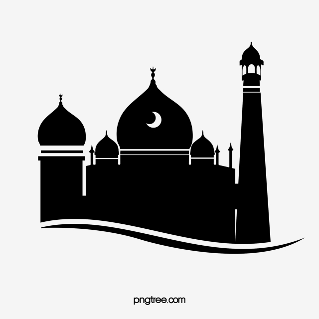 Silhouette Of Black And White Creative Mosque, Islam.