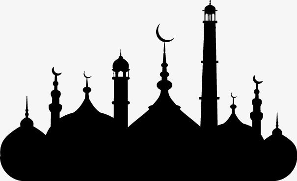 Islamic Mosque Silhouette Vector Material, Islam, Mosque.