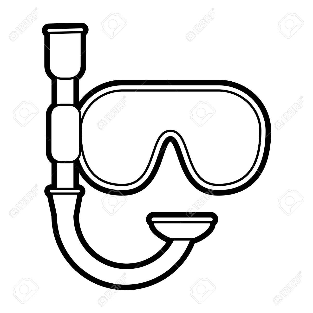 snorkel mask icon image vector illustration paint.