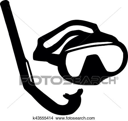 Diving Mask and snorkel Clipart.