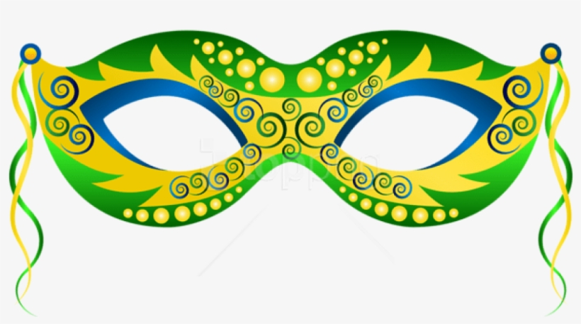 Free Png Download Green Yellow Carnival Mask Clipart.