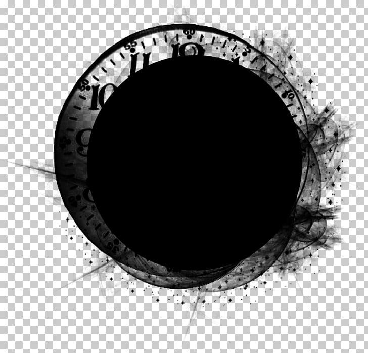Mask Photography, Photoshop, round black analog wall clock.