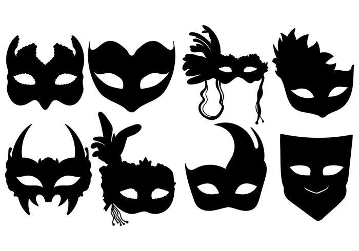 Masquerade Ball Silhouette Masks Vector.