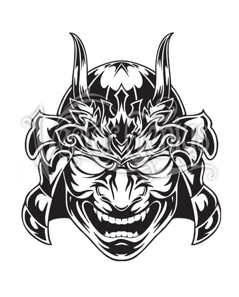 Smiling Samuari Horned Mask ClipArt.