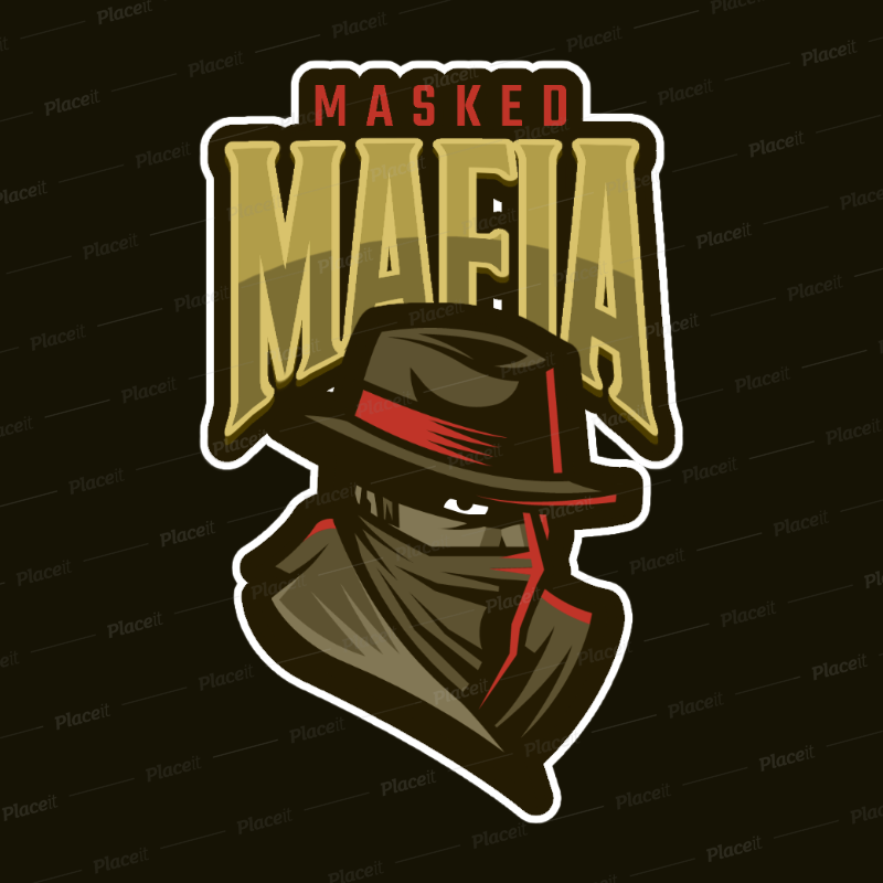 Gaming Logo Generator Featuring a Masked Bandit Clipart 1869f.