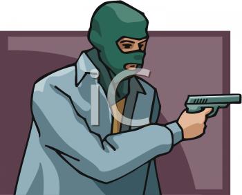 Man Holding a Gun Wearing a Ski Mask.