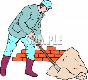 Shoveling Mortar.