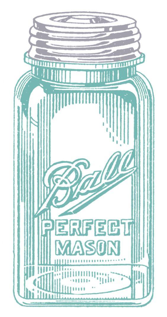 Vintage Mason Jars clip art via *The Graphics Fairy*.