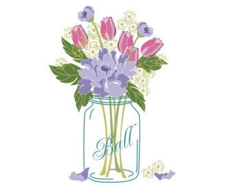 Wedding clip art/ Mason Jar Bouquet / Digital Clip Art.