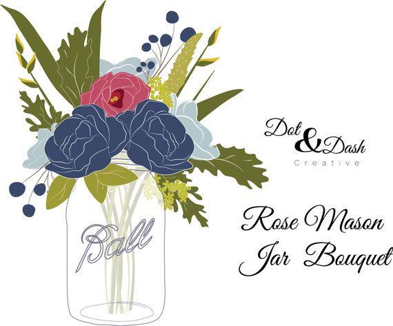 Rose Mason Jar Bouquet Digital Clip Art by.