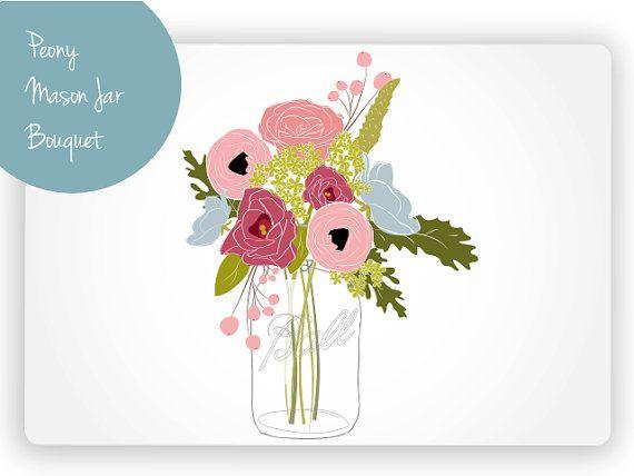 Peony Mason Jar Bouquet Digital Clip Art.