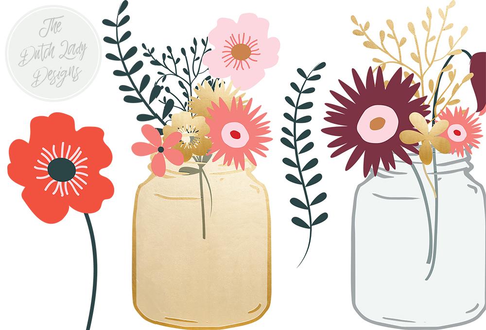 Flowers In Mason Jar Clipart.