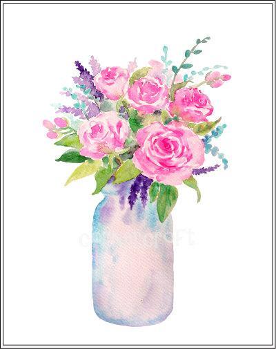 Watercolour vase of flowers, mason jar flowers, watercolor clipart, instant  download.