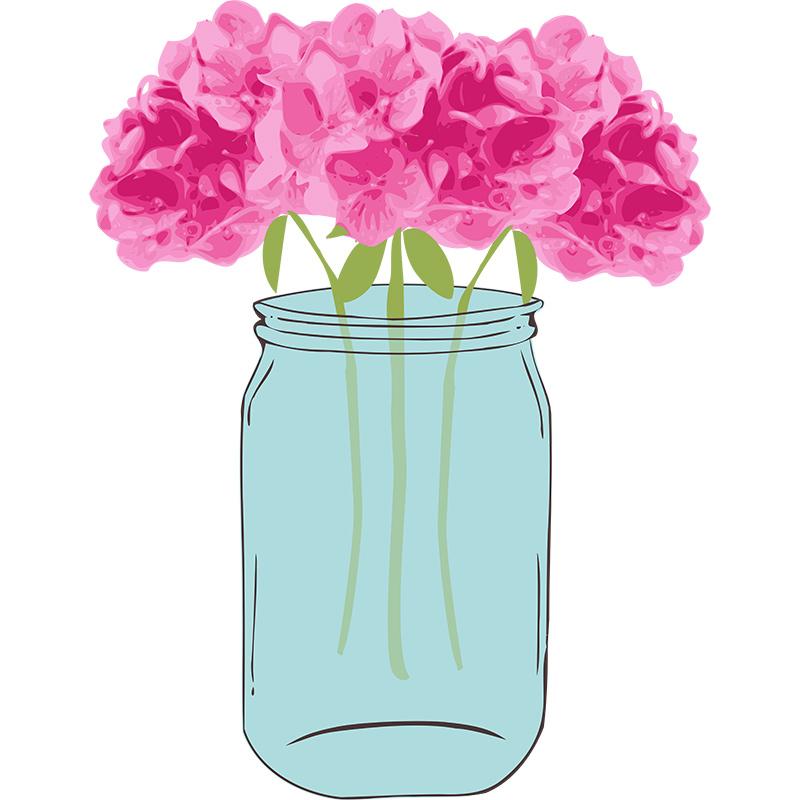 Floral Vector with Mason Jar Clip Art.