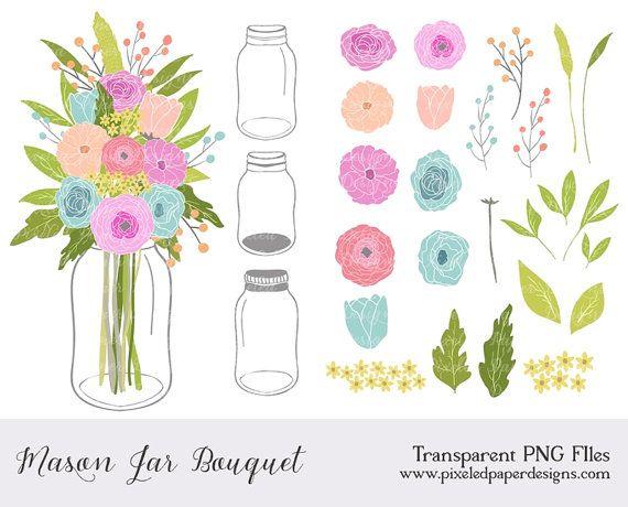 Mason Jar Flowers Clip art: \