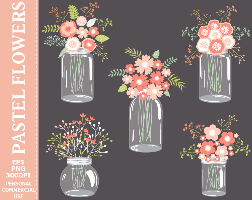 70% OFF SALE Digital Pastel Flowers in Mason Jars Clip Art.