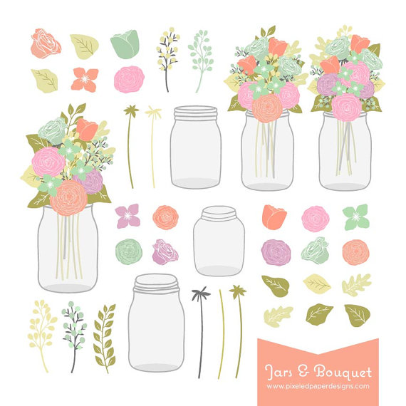 Flower Bouquet & Mason Jar Digital Clip Art. Graphics for.