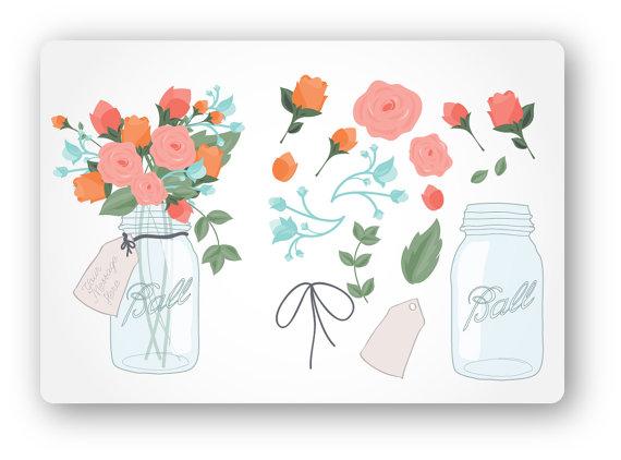 Mason Jar Bouquet Digital Clip Art.