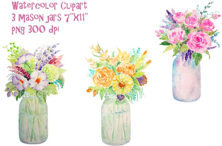 hand painted watercolour vase of flowers mason jars digital.