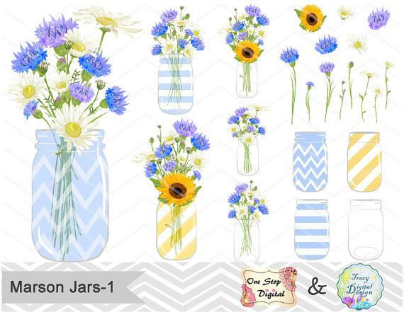 Digital Flower in Mason Jar Clipart, Blue Flower Clip Art, Blue.